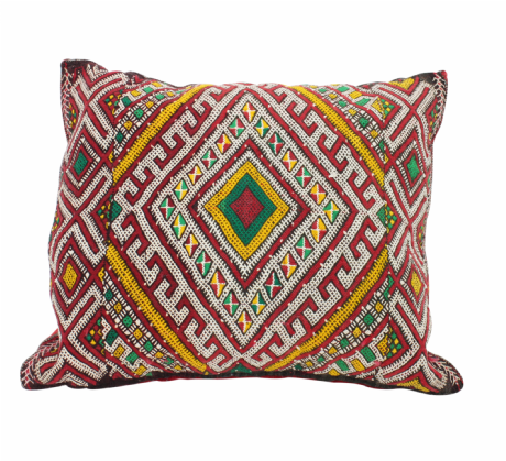 Moroccan Kilim Cushion Vintage Authentic Wool Hand Embroidered Hand Stitched 48 cm x 42 cm VC116-5